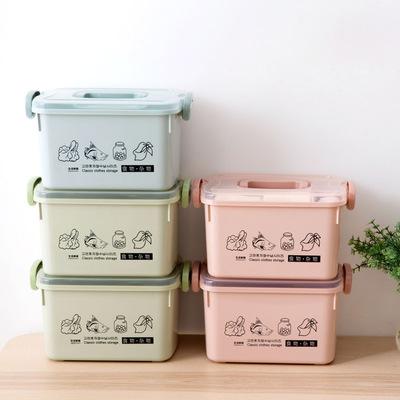 手提有盖收纳箱塑料衣服内衣收纳盒储物箱厨房加厚小号零食整理箱