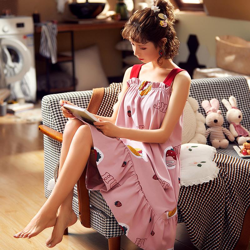 睡裙女夏季薄款吊带连衣裙家居服女士公主风可爱甜美学生纯棉睡衣