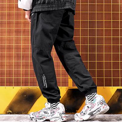秋季欧美高街潮牌嘻哈刺绣长裤男宽松束脚裤哈伦裤工装裤松紧裤子