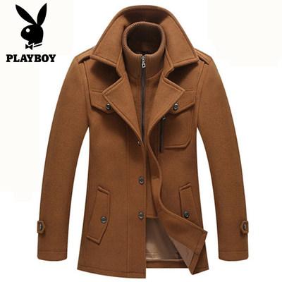Playboy VIP len áo khoác mùa đông dày đôi cổ trung niên áo len dài trench coat Áo len