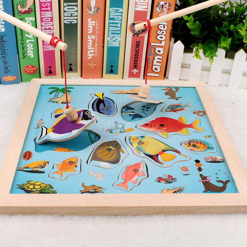 包邮 幼儿园益智玩具磁性钓鱼拼图儿童早教拼板拼图玩具磁性钓鱼