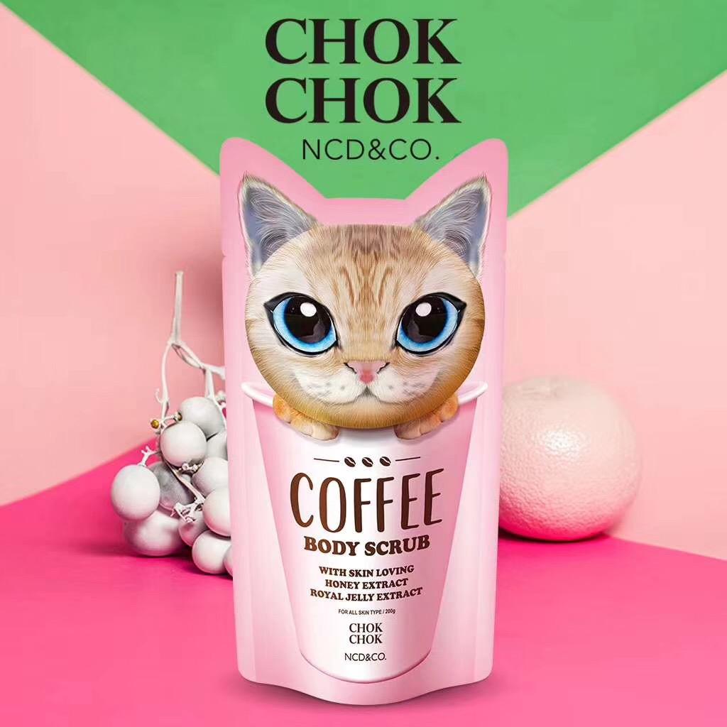 Hàn quốc sản phẩm mới CHOKCHOK đầu tiên ra mèo cà phê cơ thể chà 200 gam chăm sóc cơ thể tẩy tế bào chết