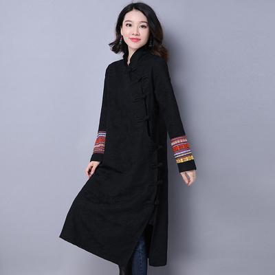 春季新款中国风提花改良日常旗袍民族风女装复古长袖连衣裙女