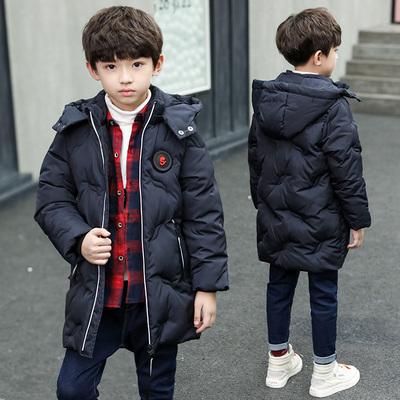 新款男童秋冬加厚保暖中长款羽绒棉服