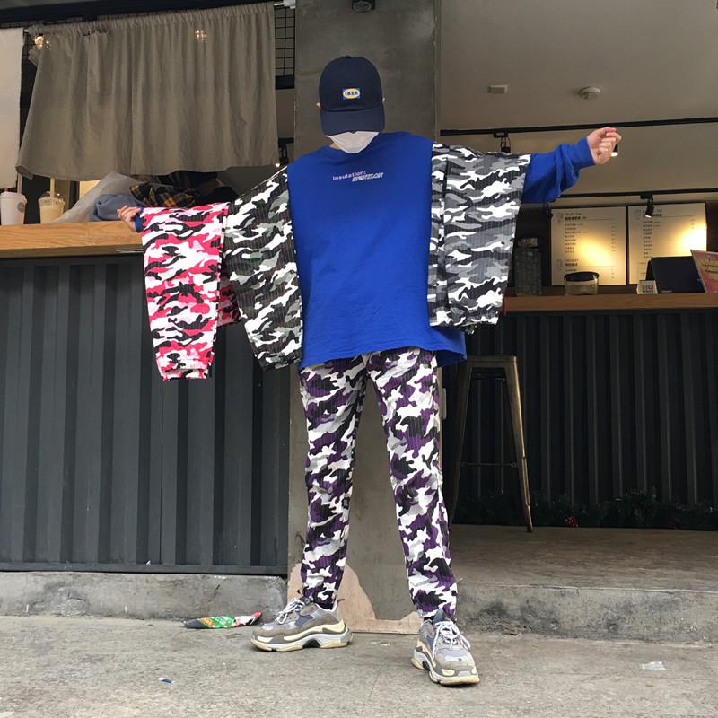 宽松迷彩裤嘻哈工装长裤束脚裤休闲运动街舞男女九分裤新迷彩面料