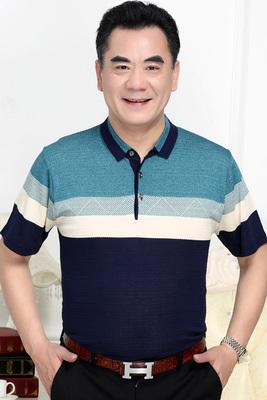 Playboy mùa hè ăn mặc cha ngắn tay băng lụa t-shirt nam trung niên ve áo lỏng t-shirt trung niên phần mỏng