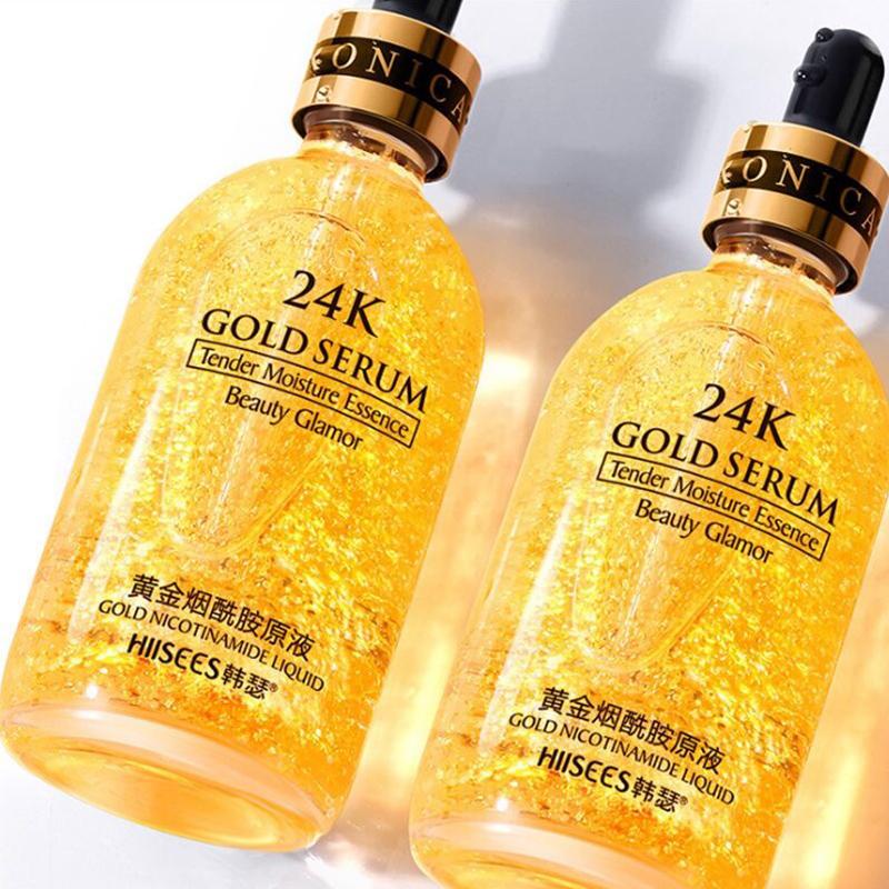 买一送一24k黄金精华液收缩毛孔玻尿酸