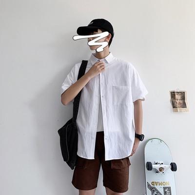 网红很仙的衬衫男短袖夏季纯色百搭学生港风文艺小清新白色衬衣潮
