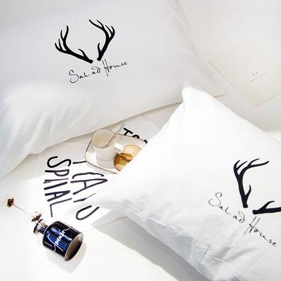 北欧简约时尚全棉枕套单人纯棉枕头套48 74一对成人白色情侣信封