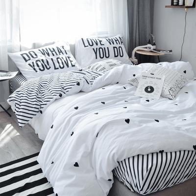 北欧风简约卡通全棉床上用品四件套纯棉1.5/1.8m床单床笠学生宿舍