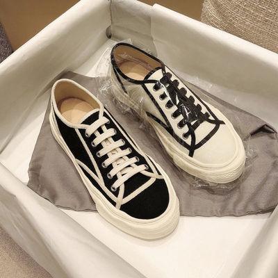 包头半拖鞋女外穿鞋子女2021新款休闲一脚蹬懒人平底穆勒帆布鞋女