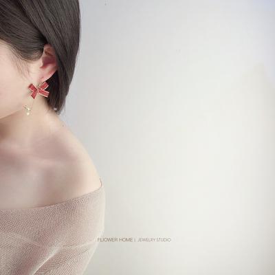 花宿原创 甜美时尚s925纯银蝴蝶结星星耳环 港风简约个性ins复古