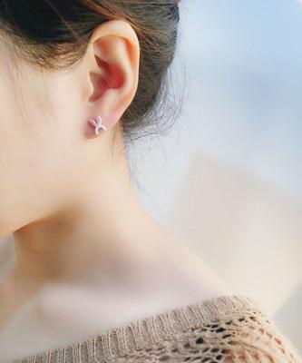 花宿|可爱 不二兔耳朵耳钉925银 纯手工耳饰少女心礼物  防过敏