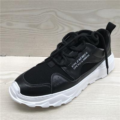 断码鞋特价真皮男鞋 春新款牛皮拼接透气舒适厚底休闲运动鞋