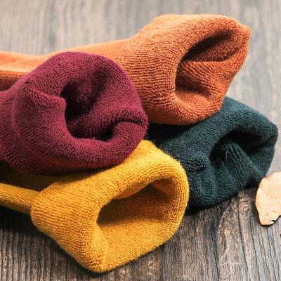 恒素冬季毛巾袜中筒袜纯色棉袜加厚保暖袜冬季毛圈袜子女长袜日系