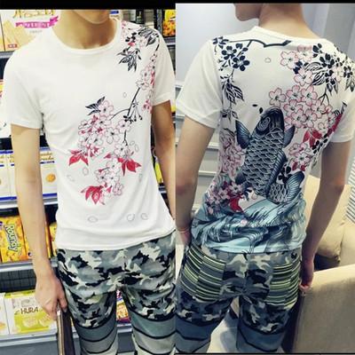 Thiếu niên mùa hè ngắn tay T-Shirt nam giới với mô hình rồng mùa hè junior học sinh trung học đẹp trai nhìn quần áo tốt triều