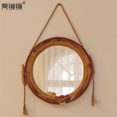 实木麻绳挂镜 复古装饰镜 壁挂家居卫生间梳妆台