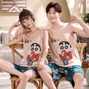 夏季情侣睡衣纯棉背心韩版两件套装卡通男女士无袖短裤家居服薄款