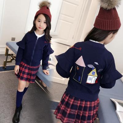 女童秋装外套新款中大童拉链衫童装上衣卡通潮儿童棒球服