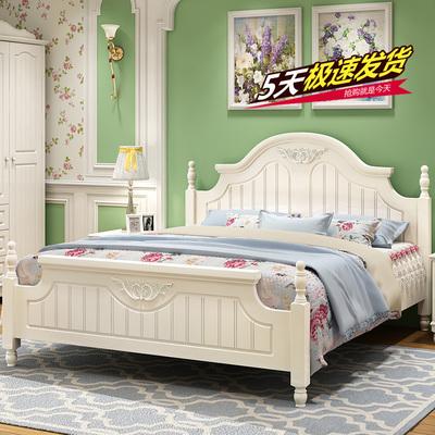 韩式床田园床高箱储物床公主床双人床白色欧式