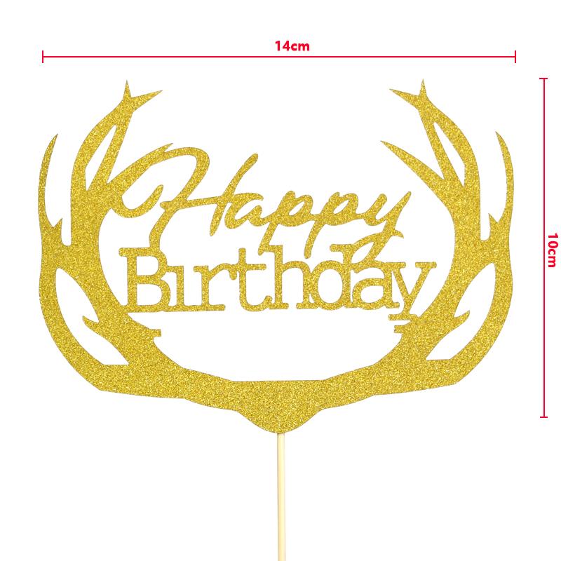 烘培装扮蛋糕装饰甜品台插旗 鹿先森 角 DIY插旗 happy birthday