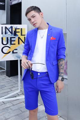 Pop mùa hè phù hợp với quần short nam 2018 mới Hàn Quốc phiên bản của thanh niên Anh rắn màu thường năm quần quần short mỏng Suit phù hợp