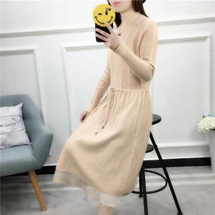 2019春秋新款蕾丝针织衫连衣裙
