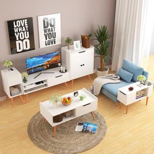 Yijiada Bắc Âu đồ nội thất phòng khách tủ TV bàn cà phê kết hợp rắn gỗ đơn giản side a vài side tủ trà tủ