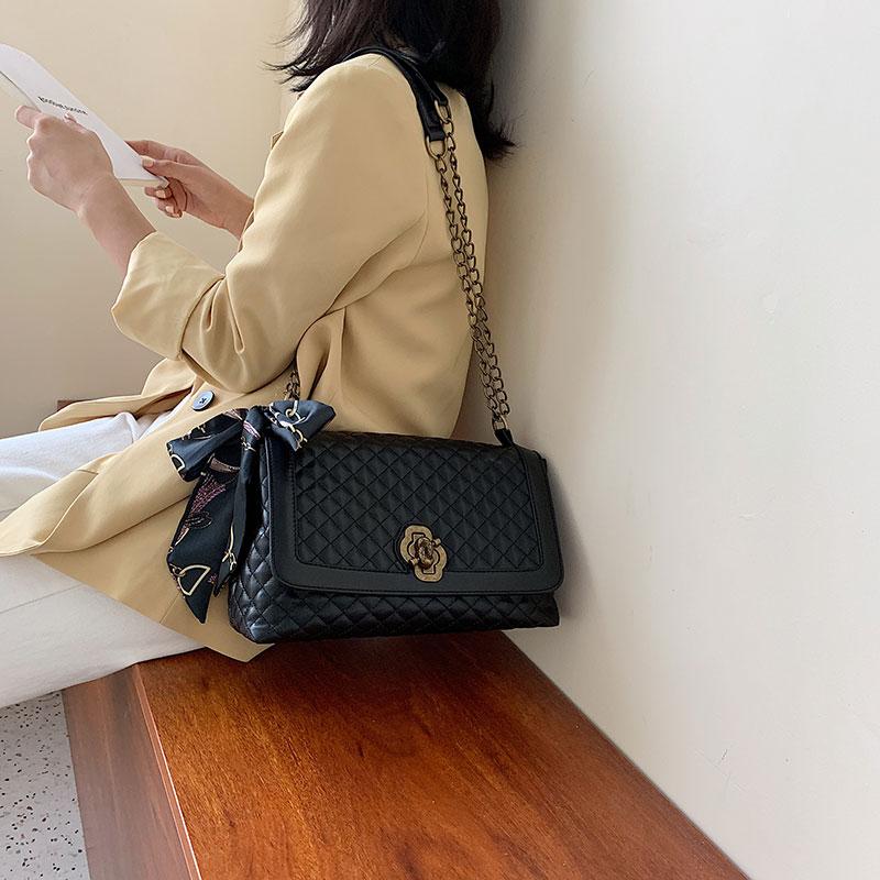 新款韩版时尚绣线洋气大容量菱格链条包包-秒客网