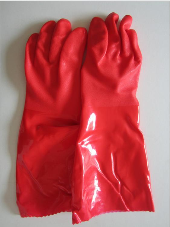 东亚加棉802F-45酒店家务清洁手套PVC加绒加长干活冬季保暖手套