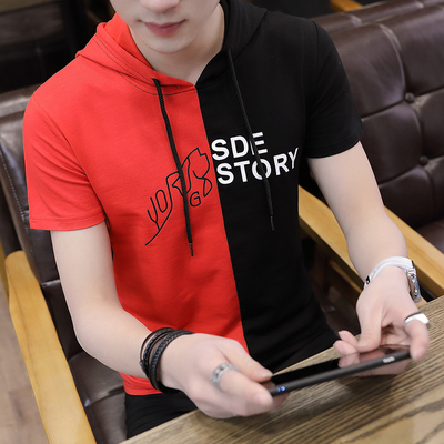 Chàng trai áo len mùa hè trùm đầu Hàn Quốc phiên bản của xu hướng của học sinh trung học cơ sở ngắn tay mỏng với áo trùm đầu phần mỏng nửa tay áo xu hướng Áo len