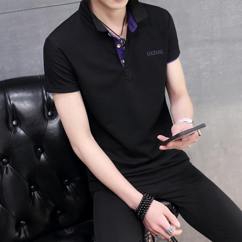 Mùa hè cổ áo ngắn tay t-shirt nam thanh niên rắn màu ve áo nửa tay áo quần áo cotton T men chì t-shirts