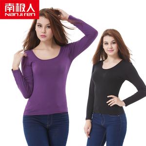 Nam cực ấm đồ lót phần mỏng nữ phương thức mùa xuân và mùa thu áo sơ mi đơn dài tay cơ sở cơ bản mùa thu quần áo bông áo len