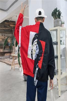 High Street Hip Hop Gió Loose Jacket Vài Sun Quần Áo Bảo Vệ Harbor Gió Ins Siêu Lửa Mỏng Tương Phản Màu Chú Hề Bóng Chày Quần Áo mùa hè