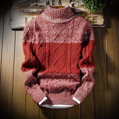 Mùa thu và mùa đông nam ấm áp cao cổ áo len Hàn Quốc phiên bản của tự trồng ve áo thanh niên quần áo sinh viên mùa đông dày áo len