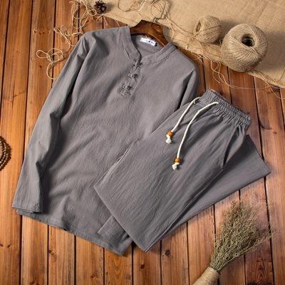 Mùa xuân và mùa hè người đàn ông trung niên của lanh dài tay T-Shirt phù hợp với phần mỏng trung và cũ tuổi cotton và linen quần hai mảnh cha ao thun nam Áo phông dài