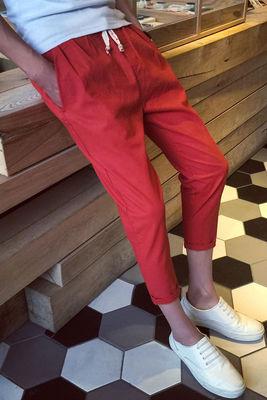 Mùa hè tám điểm quần nam Hàn Quốc phiên bản của xu hướng hoang dã Mỏng chín quần phần mỏng trai loose linen 9 điểm quần âu Crop Jeans