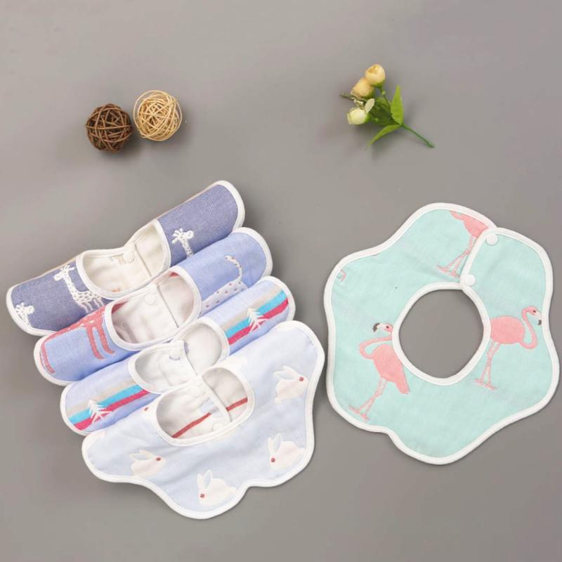 婴儿口水巾围嘴纯棉纱布360度旋转宝宝围兜防水防吐奶新生儿围脖
