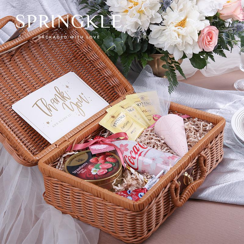 高档伴手竹篮行李箱礼盒,结婚伴娘回礼礼物