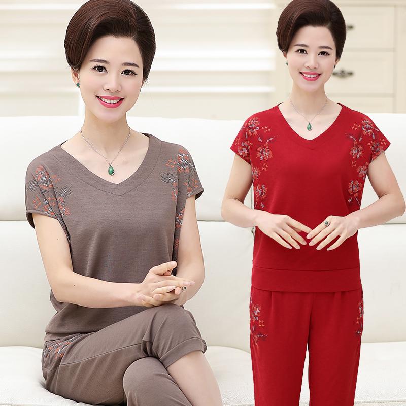 Phụ nữ trung niên của mùa hè t-shirt thể thao giản dị hai mảnh phù hợp với cộng với phân bón XL mẹ ăn mặc ngắn tay áo + quần áo