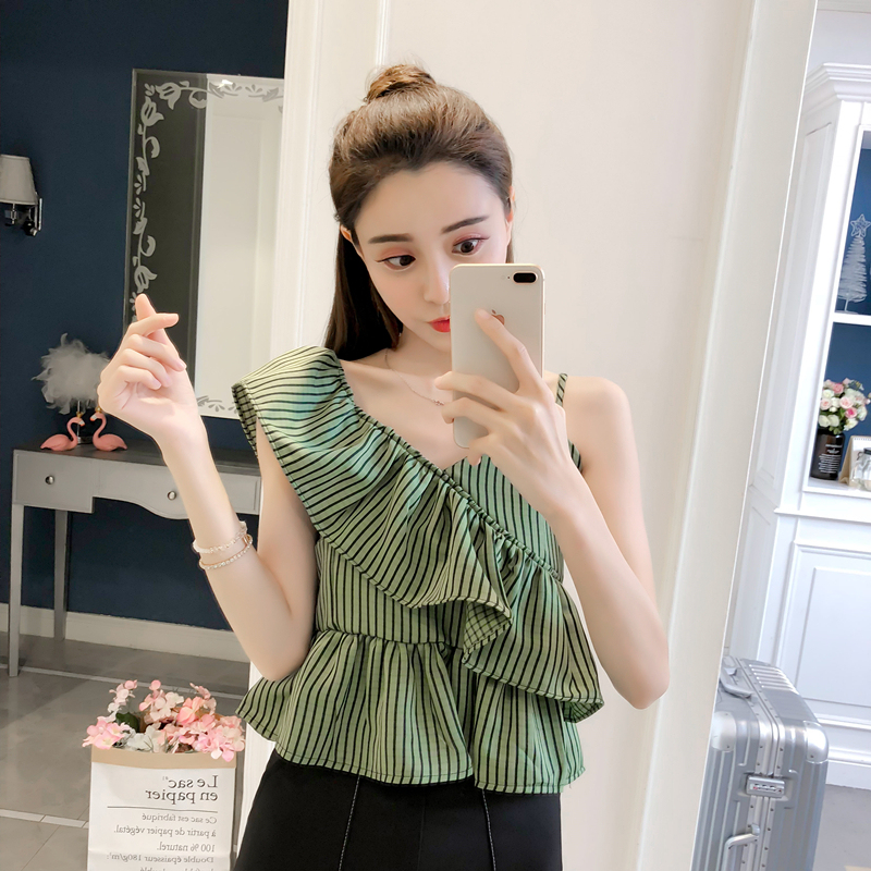 0b5083184af 2018 Summer New V-Neck Ruffle Irregular Stripe Chest Strap Halter ...