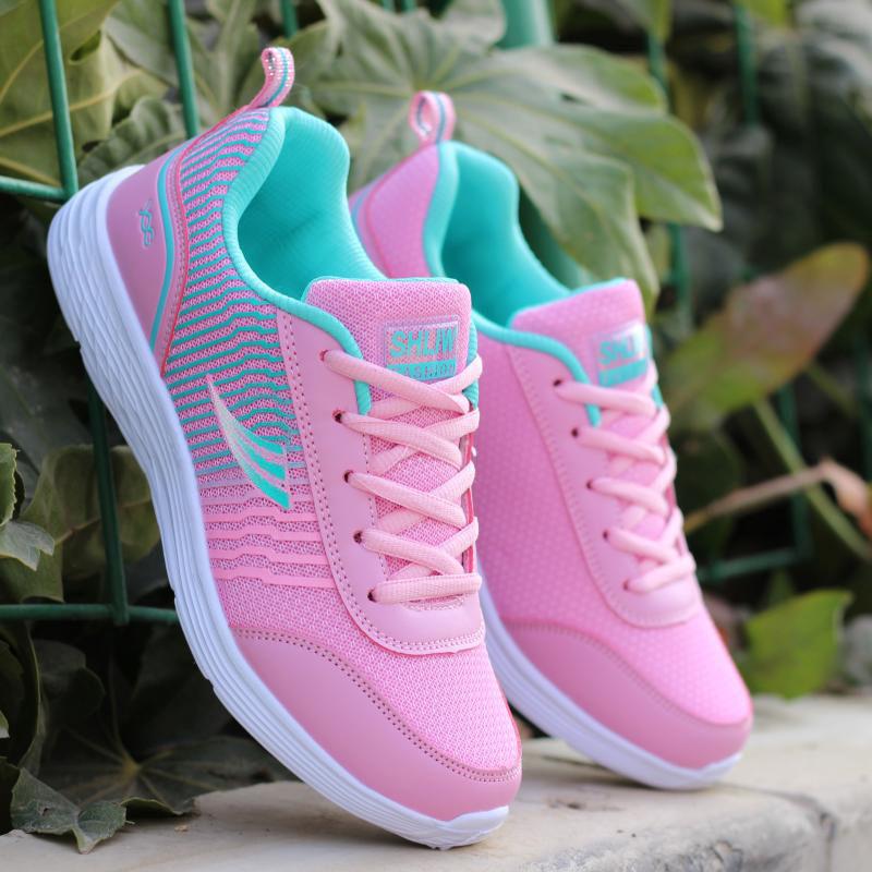 春秋季女士日常休闲运动鞋韩版女鞋透气平底跑步鞋轻便旅游鞋单鞋