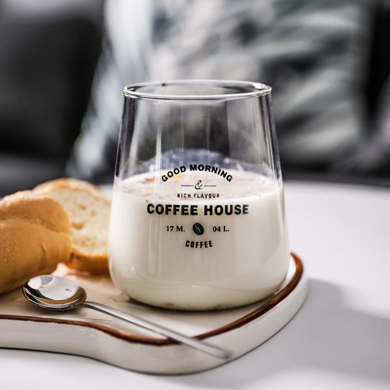抖音同款:简约玻璃杯 家用大肚杯
