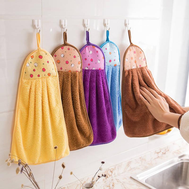 家用厨房厕所珊瑚绒擦手巾【五条装】