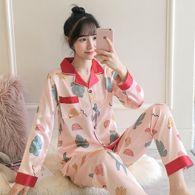 长袖开衫睡衣韩版真丝休闲两件套装