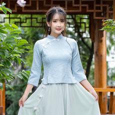 视频实拍3402#2019春装中国风复古提花改良旗袍上衣学生班服