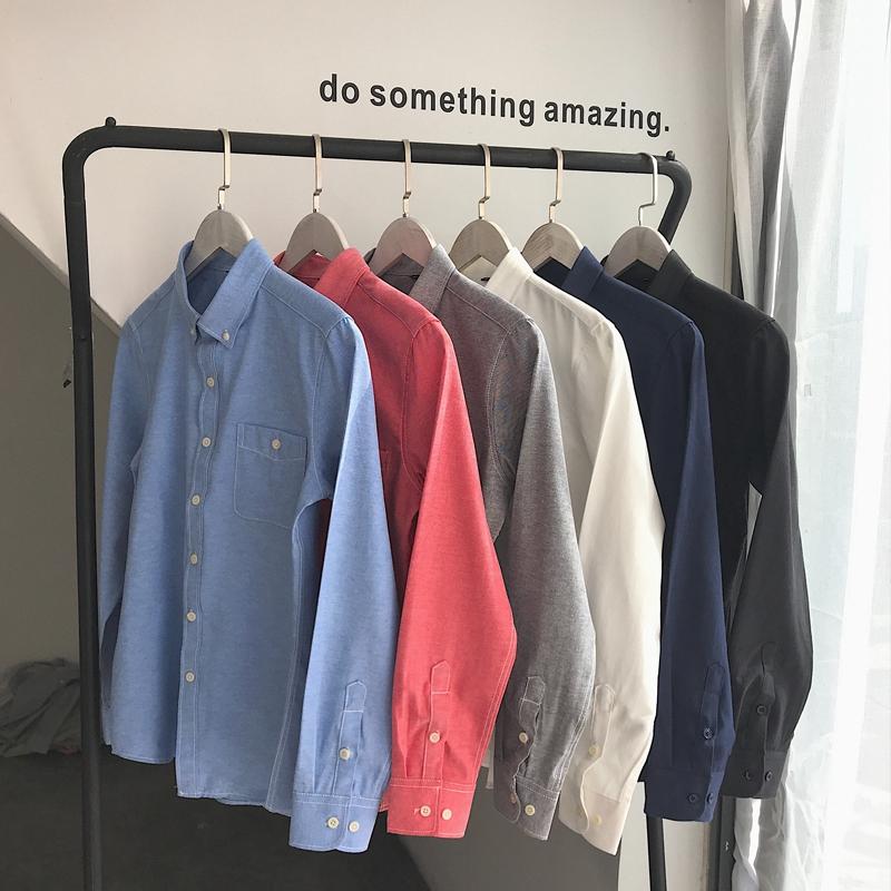 2018年男士牛津纺长袖衬衫港仔风平铺衬衫潮男大码简约休闲衬衣