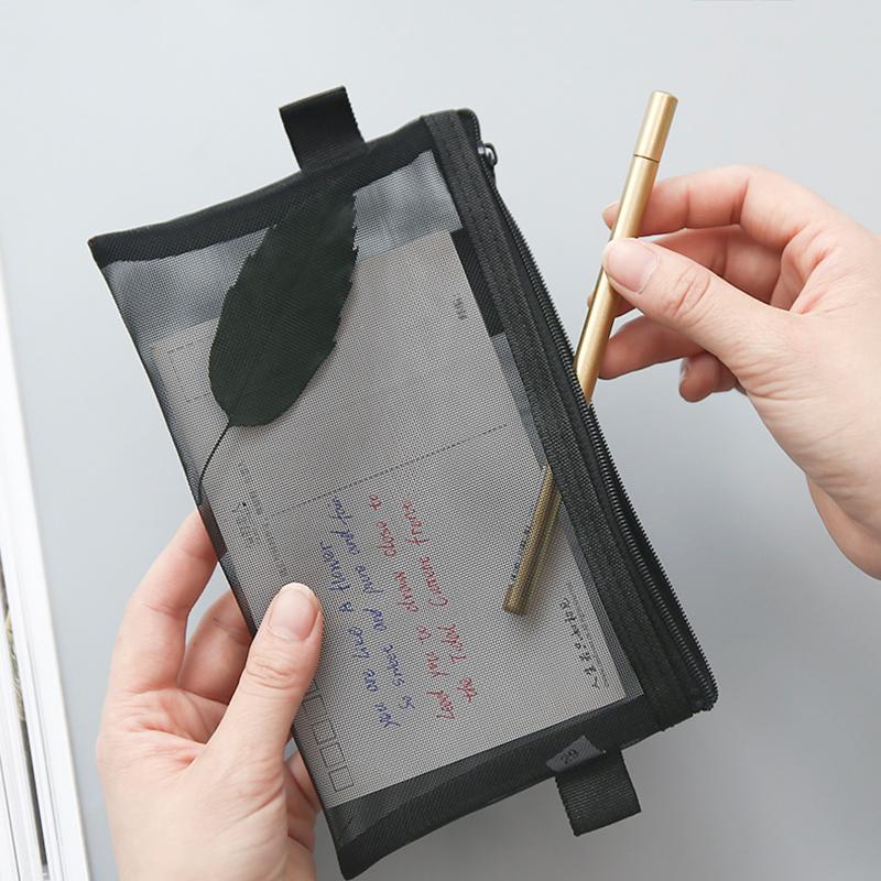 韩国简约女透明网纱网格考试铅笔袋-秒客网