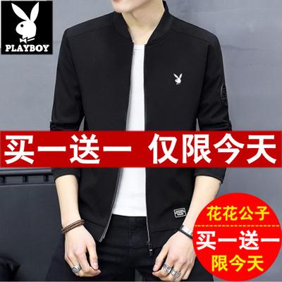 Playboy nam áo khoác mùa xuân và mùa thu 2018 mới đẹp trai Hàn Quốc phiên bản của xu hướng áo khoác nam bóng chày cổ áo quần áo mỏng Áo khoác