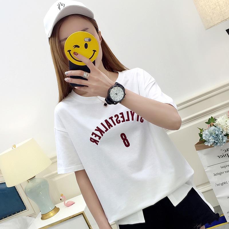 617#实拍夏季女士短袖T恤女新款韩版圆领修身学生潮流上衣服女